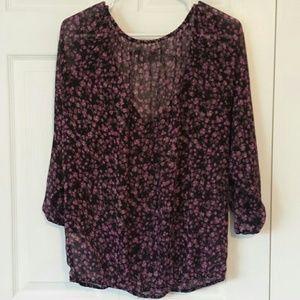 LC Lauren Conrad Tops - Lauren Conrad relaxed sheer floral blouse